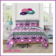 Girls Cotton Comforter Set Southwest Style Pink Purple Bedding Twin Full/Queen #BHG