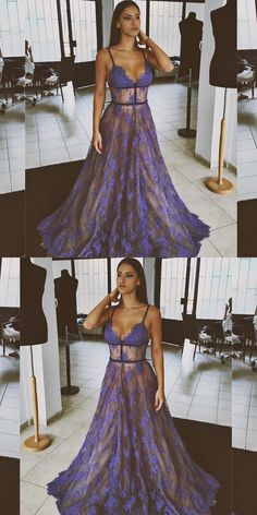 New Arrival long lace fashion charming sexy most popular a-line spaghetti straps prom dresses, elegant formal prom dress, evening dresses, party dresses, 17802