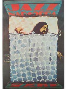 Jazz Nad Odra 1973,   Afmeting : 94 x 97 cm , Jaartal : 1973   SAWKA, Jan Geboren in 1946 in Zabre. Afgestudeerd in Wroclaw aan het Wroclaw Architecture Dept. of the Polytechnic. Heeft een studie afgerond aan de ASP in Wroclaw als schilder en grafisch ontwerper. Tentoonstelingen in Budapest en New York in 1972, Wroclaw en Helsinki in 1973. Daarop volgde nog vele exposities. In 1978 kreeg hij een gouden medaille op de 7e Poster Biennale in Warschau.