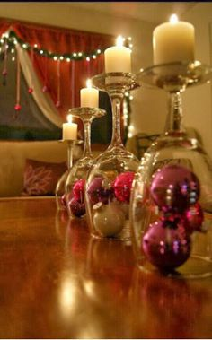 DIY Wineglass Centerpiece...God knows I have lots and lots of wine glasses!