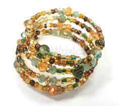 Brown Beaded Bracelet Gold Boho Style Coil by RandRsWristCandy