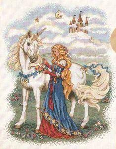 Lady And Unicorn. Леди и единорог. Dimensions. Скачать схему вышивки крестиком