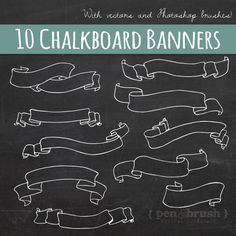 Chalkboard Banners & Ribbons Clip Art // Hand Drawn Chalk // DIY Wedding Invitation // Design Elemen Chalkboard Text Dividers Clip Art // Photoshop…Chalkboard Laurels & Wreaths Clip Art //…Vintage hand-lettering Christmas greetings on… Blackboard Art, Chalkboard Writing, Chalkboard Banner, Chalkboard Lettering, Chalkboard Designs, Vintage Chalkboard, Chalkboard Labels, Brosses Photoshop, Photoshop Brushes