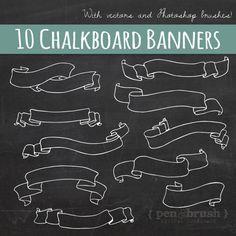 Chalkboard Banners & Ribbons Clip Art // Hand Drawn Chalk // DIY Wedding Invitation // Design Element // Black board Chalk // Commercial Use...