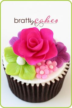 Hot Pink Rose Wedding Cupcake
