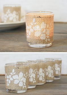 Could do this with flower pots, mason jars, anything! Wrap votive holders with stencil painted burlap Burlap Projects, Burlap Crafts, Diy Projects To Try, Diy And Crafts, Burlap Candles, Votive Candles, Candleholders, Diy Wedding, Rustic Wedding