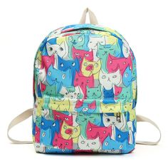Cute Cat Canvas Backpack In Four Colors