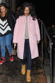 Rihanna's Fancy Coat Makes Jeans & Timberlands Night-Out Appropriate  #refinery29 #slide1 There's something rebellious — and really, really chic — about wearing pastels when it's cold outside [love Riri's look:)]