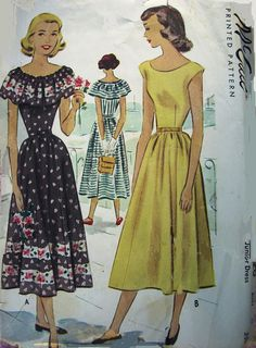 Vintage 1940s McCall 7220 Womens Ruffle Dress by Denisecraft, $12.99