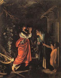 ADAM ELSHEIMER (1578-1610) - English: Ceres and Stellio Deutsch: Die Verspottung der Ceres Datecirca 1605 - oil on copper Dimensions:30 × 25 cm (11.8 × 9.8 in) Museo Nacional del Prado
