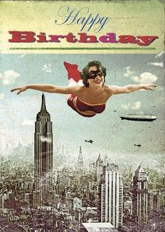 "The Best Happy Birthday Memes Carte double ""Bon anniversaire Super Héroïne"""