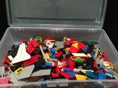 LOT OF SMALL LEGO PIECES IN A LARGE PLASTIC STORAGE BOX, WEIGHS APPROX. 7 LBS