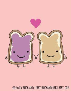Peanut Butter Loves Jelly 85 x 11 Illustration by BuckAndLibby, $20.00♡