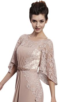 Little Smily Women's Lace Scoop Neck Long Evening Dress with 3/4 Sleeve, Light Brown, XL