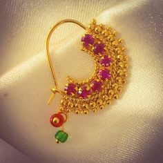 Golden Beads With Pink Stone Nath Gold Bangles Design, Gold Earrings Designs, Gold Jewellery Design, Nose Ring Jewelry, Nose Rings, Nath Nose Ring, Ear Rings, Nose Ring Designs, Fancy Jewellery