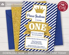 This editable and printable prince invitation is perfect for a boy's birthday party themed in royal blue and gold! Prince Birthday Party, 30th Party, Birthday Party Themes, Boy Birthday, Birthday Ideas, Giving Flowers, 2nd Birthday Invitations, Birthday Numbers, 1st Birthdays