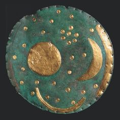 The Nebra Sky Disc, 2000–1600 BC, considered the first known portable astronomical instrument and the oldest-known graphic depiction of celestial objects. The twelve-inch-wide disc contains an arrangement of seven stars probably representing the Pleiades. Two golden bands at the disc's edge (one is missing) span 82 degrees, corresponding to the angle between sunset at the winter and summer solstices at the latitude of Saxony-Anhalt, Germany, where it was found in 1999.