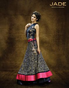 Deep blue embroidered #lehenga JADE by Monica and Karishma.