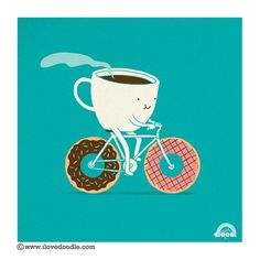 coffee doughnut bicycle illustration