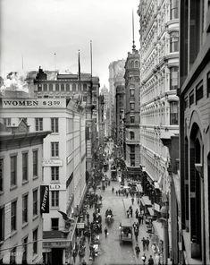"""Circa 1905. """"Nassau Street, New York City."""" So, $3.50. By the hour? By the pound?"""