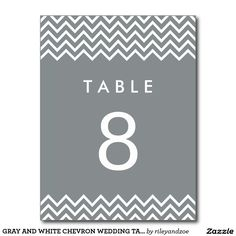 GRAY AND WHITE CHEVRON WEDDING TABLE NUMBER CARDS POSTCARD