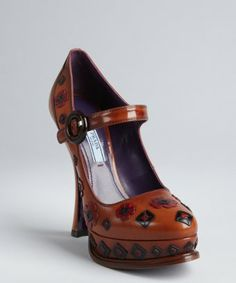 Prada Floral Distressed Pumps