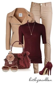 """""""Beige 'n Burgandy"""" by bitbyacullen ❤ liked on Polyvore featuring Acne Studios, Moschino Cheap & Chic, Oasis, Nixon, MICHAEL Michael Kors and Zadig & Voltaire"""