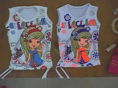 ropa de niña, blusa de niña con estampado y tiras costados confeccionada en tela viscosa