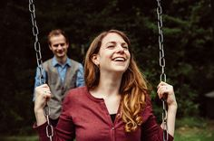 Mustard Yellow Photography | Sarah & Joe : Engagement photos in Moseley Park  On a swing!
