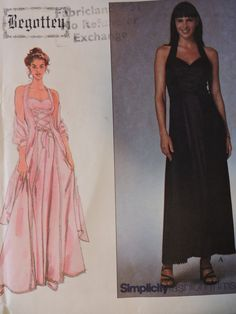 Begotten Halter Dress & Shawl Graduation Wedding Dresses UNCUT Sewing Factory Folded Simplicity 8984 Sewing Pattern Sizes 12 - 14 - 16 - 18 Dress With Shawl, Petite Dresses, Princess Seam, Fit And Flare, Sewing Patterns, Graduation, Size 12, Women's Fashion, Wedding Dresses