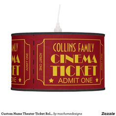 Custom Name Theater Ticket Roll Movie Theme Ceiling Lamps
