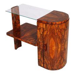 1930's Art Deco coffee table burl walnut