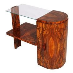 1930's Art Deco coffee table burl walnut