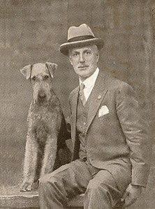 Vintage photo of man and his dog.
