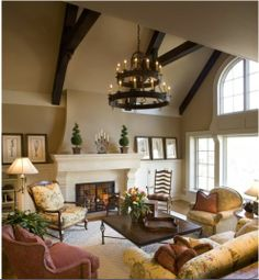 Is this not THE most gorgeous living room EVER? Warm Paint Colors Living Room Design, Pictures, Remodel, Decor and Ideas - page could totally do this in my living room! it looks just like mine! Warm Paint Colors, Paint Colors For Living Room, My Living Room, Cozy Living, Wall Colors, Warm Living Rooms, Simple Living, Modern Living, French Country Bedrooms