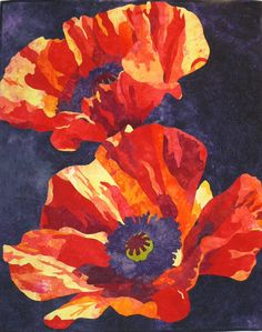 "Two Poppies, 35 x 43"", by Elaine Quehl 