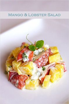 Mango and Lobster Salad, a nice recipe to impress your Valentine's this Friday. #vday2014
