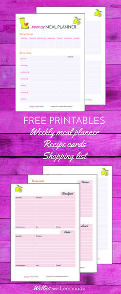 Free printable to help you organise your recipes, meal planning and shopping for the week. find it over at http://www.welliesandlemonade.com/free-printable-recipe-cards-shopping-list-weekly-meal-planner-bundle