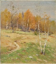 """Autumn Landscape,"" Willard LeRoy Metcalf, oil on canvas, 16.1 x 14"", private collection."