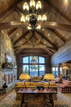 Great Room | Handcrafted Dovetail Home | By Caribou Creek Log Homes