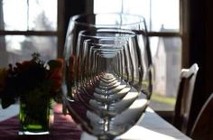 Really neat shot straight through many wine goblets.