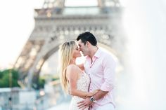Great engagement photo shoot in front of the Eiffel Tower with the best morning light and the most beautiful couple!