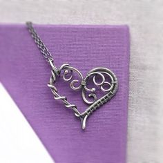 Sterling Silver Artisan Heart Necklace | Wire Wrapped Heart