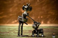 robot and dog, made from screws and bolts