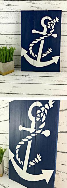 Anchor Sign - Nautical Sign - Nautical Decor - Beach House Sign - Coastal Decor - Nautical Nursery - Travel Decor - Adventure Sign #affiliatelink