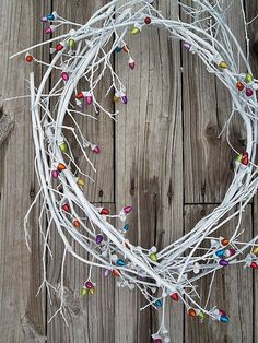 White Wreath Natural Oak and Colorful by ransomletterhandmade, $32.00