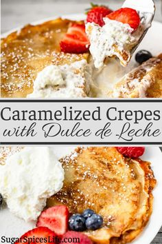 These Caramelized Dulce de Leche Crepes will take your home dessert-game to the next level. Crepes are filled with Dulce de Leche then caramelized to be perfectly crisp. Serve topped with fresh whipped cream and fresh fruit or add some real decadence with chocolate or caramel sauce. Best Breakfast Recipes, Brunch Recipes, Breakfast Ideas, Dessert Recipes, Crepes, Sweet Desserts, Delicious Desserts, Dessert Games, Crepe Recipes