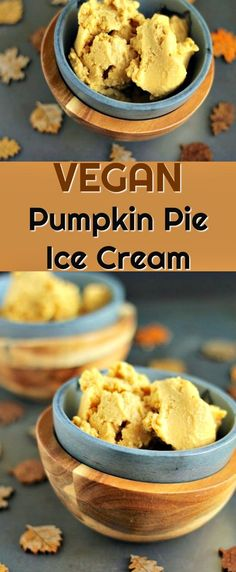 The very best vegan Pumpkin Pie Ice Cream you've ever had! So easy to make, using coconut milk as the base. Dairy-free and paleo too. Enjoy the flavors of Thanksgiving all year round! #pumpkinpie #vegan