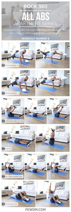 Effective core training in your home is easier and fun with ROCK 360. Try these exercises! Workout#6 in the Apartment Series, All Abs.
