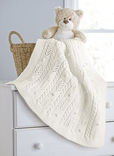 Cables and Bobbles Blanket - Aran Irish Tweed - This place winner is designed by Izabella Tichy. A soft and snuggly blanket for your baby. Shown in Aran Irish Twist. Knitted Afghans, Knitted Baby Blankets, Baby Afghans, Baby Blanket Crochet, Cable Knit Blankets, Baby Knitting Patterns, Baby Patterns, Afghan Patterns, Crochet Patterns